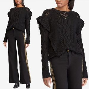 Ralph Lauren Ruffle Detail Wool Cable Sweater